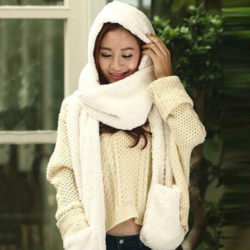3 In 1 Women Winter Warm Soft Hooded Scarf Snood Pockets Gloves Scarfs Hat Best Sale-WT