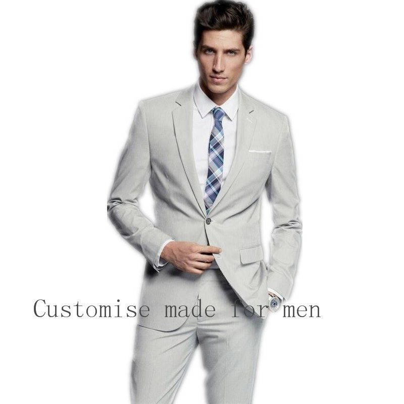 Best Selling FashionGroomsmen One Button Slim Fit Suit Light Grey ...