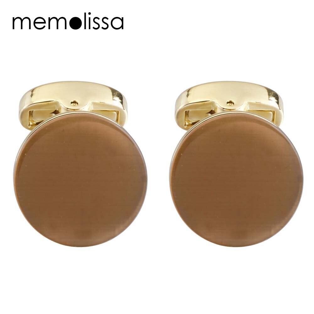 Memolissa Round Cufflinks for mens Cat Eye Opal Stone Brown Color Luxury Cufflinks for Sale