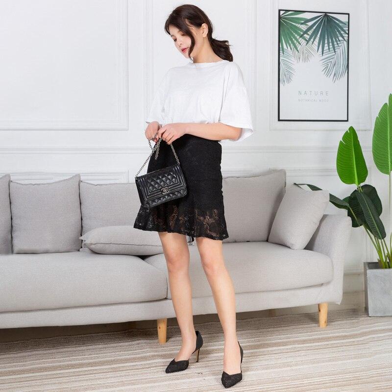2019 Nieuwe Vrouwen Korte Rok Zomer Mode Pakket Hip Slim Rok Dames Boven Lengte Lace Geborduurde Mini Rok Voor Vrouwen Saia Bekwame Vervaardiging