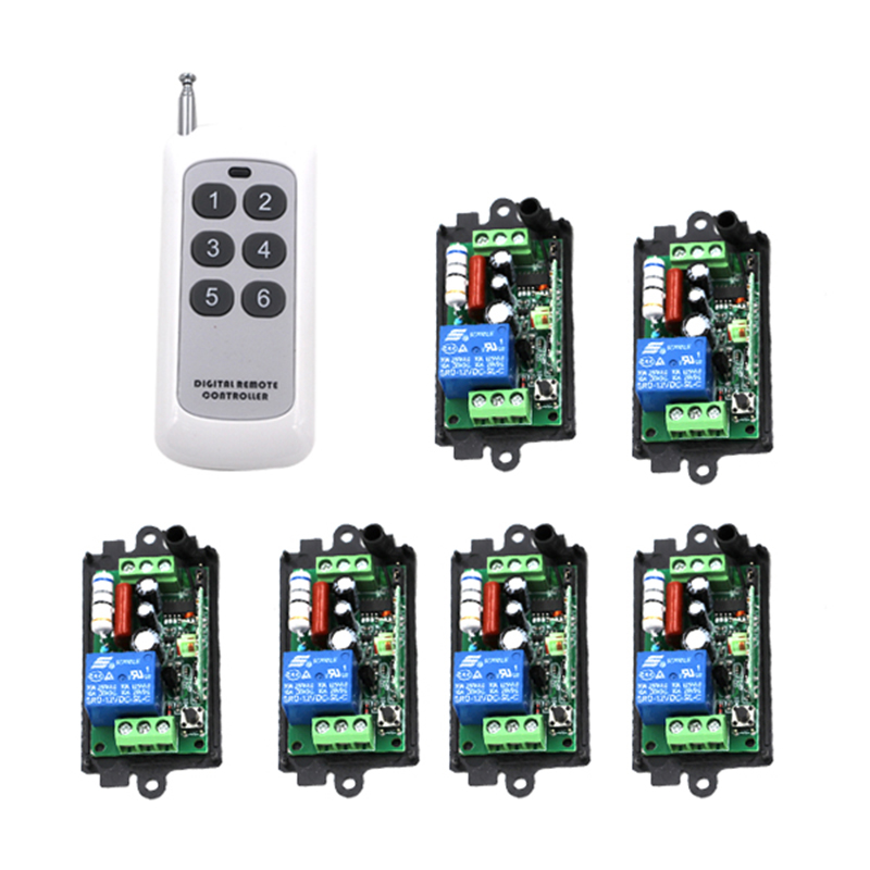 High Quality New 220V 110V 10A 6 Single-channel Wireless Relay Remote Control Switch 315MHz Control 4096