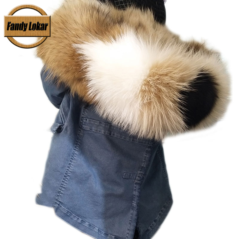 Colorful Real Fur Parka With Genuine Raccoon Fur Hood Collar Women Winter Real Fox Fur Lining Coat Woman Warm Loose Parkas italy brand style mr dark green fox fur lining parka raccoon fur collar hood winter women real fur jacket coats