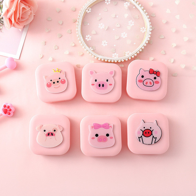 Cute Unisex Pink Pig Shaped Container Contact Lens Case With Make Up Mirror Eyes Care Kit Portable Travel Holder