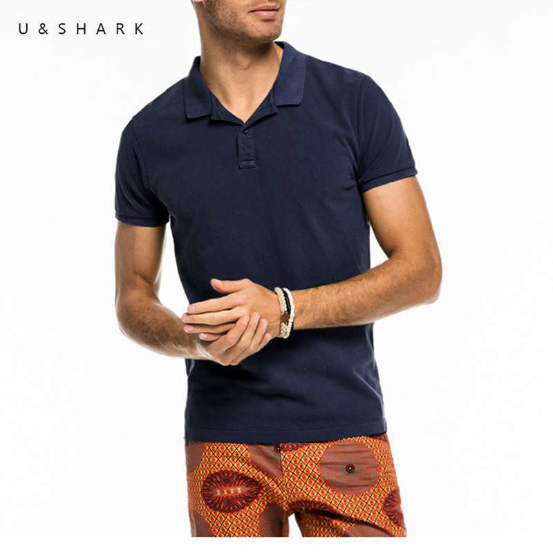 U&Shark High Quality England Style Navy Blue   Polo   Shirt Men 2016 Fashion Cotton Quick Dry Short Sleeve Male Casual   Polo   Shirt