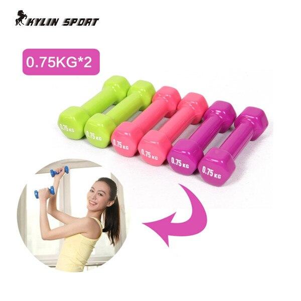 Kadın dambıl profesyonel 0.75 kg * 2 kemikleri ev fitness spor aletleri kilo kaybı plastik 1.5 kg daldırma çok renkli Içinde dambıl