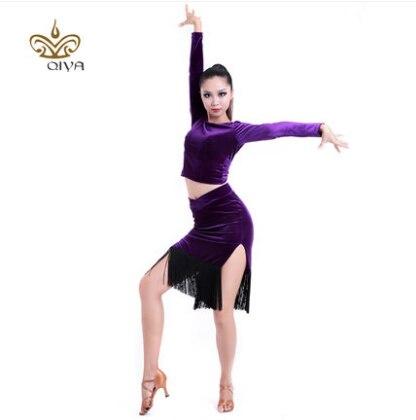 Lotynų Amerikos šokių suknelė seksuali šilkinio aksomo Lotynų - Menai, amatai ir siuvimas - Nuotrauka 1