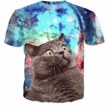 Nebula Cat Tee T-Shirt Kitten Vibrant Tee Funny T Shirts Summer Style Galaxy Nebula Space T Shirt Tops For Women Men 5XL
