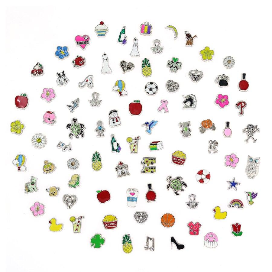 Lote de 100 unids/lote de abalorios flotantes para medallones de cristal con memoria flotante, accesorios de joyería