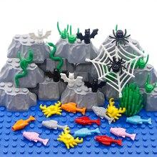 동물 도시 빌딩 블록 게 물고기 거미 웹 뱀 박쥐 농장 동물원 개 바다 친구 액세서리 MOC 벽돌 장난감 많은 부품 대량