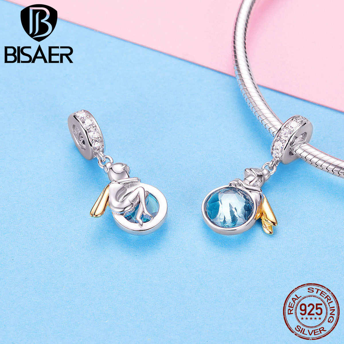 BISAER 925 Sterling Silver Magic Mirror Angle Fairy Pendant for Original Charm Bracelet or Necklace Fashion Jewelry GAC057