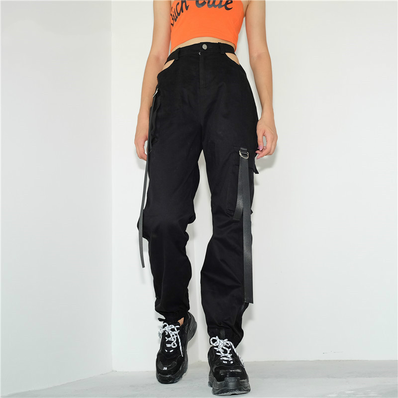 Streetwear Woman Cargo   Pants   Women Casual Joggers Black High Waist Loose Female Trousers Zipper Fly Ladies   Pants     Capri