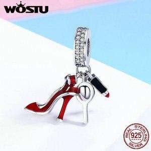 Женская обувь WOSTU, из стерлингового серебра 925 пробы, зеркальный макияж, подвеска, бисер, подходит для браслета, ювелирных изделий в подарок, CQC457