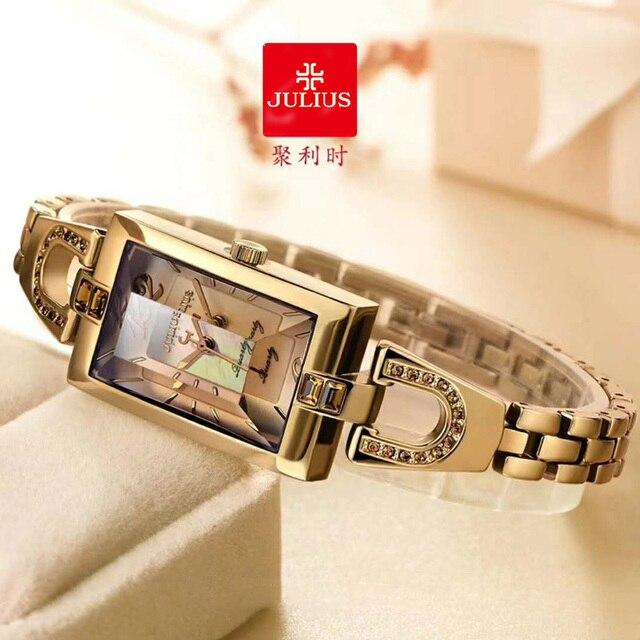 をジュリアスレディース腕時計日本クォーツelegant hoursファインファッションドレスチェーンブレスレットシェル女の子の時計誕生日ギフトボックス