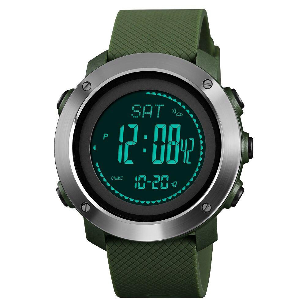 Luxus Skmei Marke Männer der Sport Kalorien Uhren Thermometer Wetter Prognose Digitale Uhr LED Schrittzähler Kompass Laufleistung Uhr