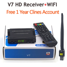 V7 HD Receptor DVB-S2 satellite Decoder+V8 USB WIFI with 7clines for 1 year HD 1080p BISS Key Powervu satellite receiver