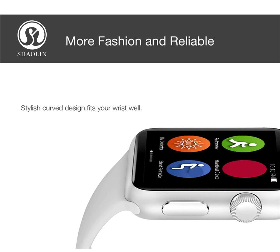 SHAOLIN Bluetooth Smart Watch Heart Rate Monitor Smartwatch Wearable Devices for iPhone IOS and Android Smartphones apple watch-2