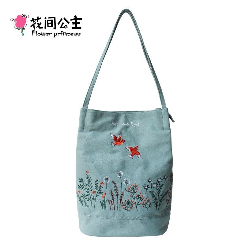 Цветок принцесса Для женщин вышивка холст сумка Девушка Лето большое ведро Bgas женские длинные ручки Tote сумки Bgas Bolsa