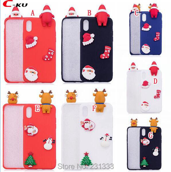 C-ku 3D Santa Claus Soft TPU Case For Iphone X 8 8th 7 PLUS 6 6S SE 5 5S Huawei P8 LITE 2017 P10 Merry Christmas Tree Skin 50pcs