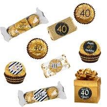 30th 40th 50th Papier Sticker Zelfklevende Ronde Anniversary Stickers 40 Jaar Oude Verjaardagsfeestje Decoraties Volwassen Gift Bag decor