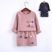 Kids Clothes New Autumn Spring Girls Clothes Ball Decoration Long Sleeve Sweater+Short Skirt 2 Pcs Fashion Children's Clothes