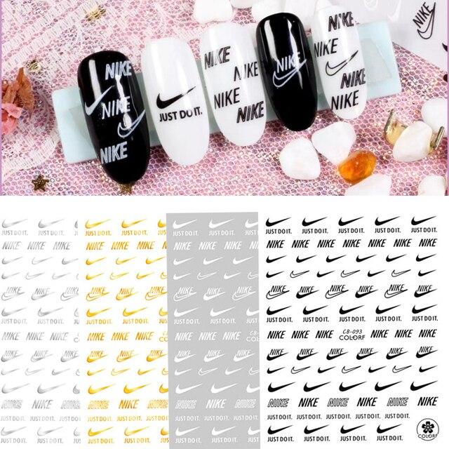 DIY Gold Und Silber Marke Logo 3D Nagel Aufkleber Selbst-adhesive DIY Aufkleber Decals Tipps Sport Logo Maniküre Nagel kunst Abziehbilder