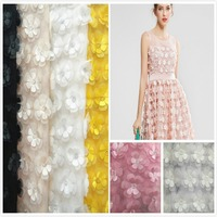 Multicolor 3D Flower Chiffon 130cm Double Layer Embroidered DIY Wedding Dress Clothing Accessories Lace Fabrics GRL0535