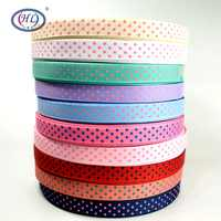 """HL 5/8"""" (15MM) 10 Meters/lot Printed Dots Grosgrain Ribbons Gift Box Wrapping Belt Wedding Party Decorative Crafts"""