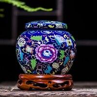 Jingdezhen Antique Enamel Ceramic Big Tea Jar Tea Caddy Canister Portable Travel Storage Bottles Sealed Tank Jar Food Candy Jar