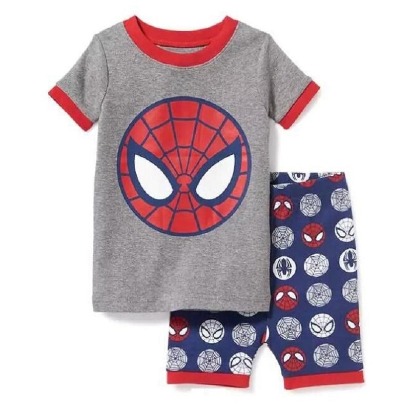 2018 горячие летние дети пижамы одежда для маленьких девочек и мальчиков костюм с рисунками детская пижама с коротким рукавом; комплект спаль...