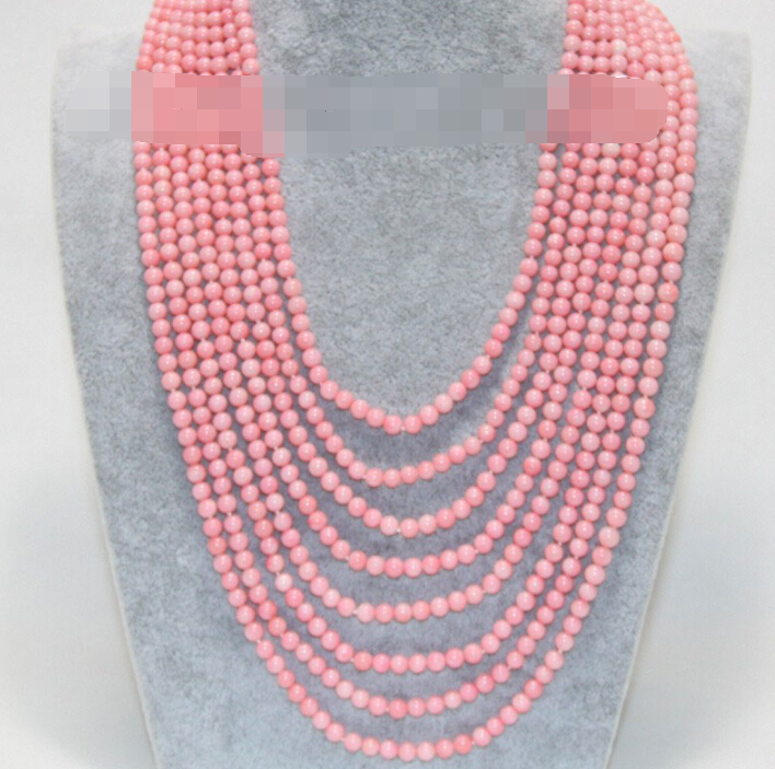 "CBN204 Beautiful Genuine 17""-23"" 8row 5mm pink coral beads necklace"
