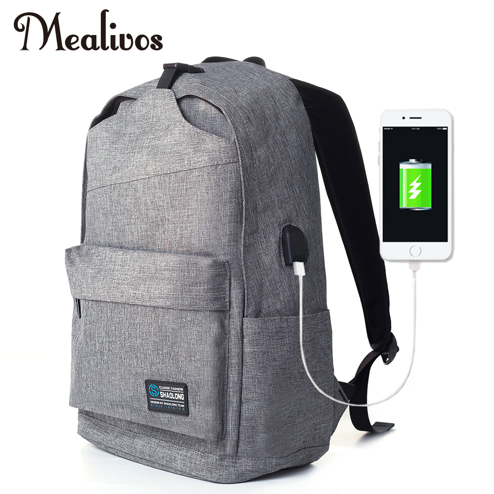Mealivos Anti-theft Water Resistant Laptop Backpack With USB Charging Port Lightweight School College Bag Rucksack Fits 17-inch