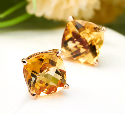 Elegant Rose Gold Yellow Topaz Crystal Stud Earring Square Stone Earrings For Women Brinco