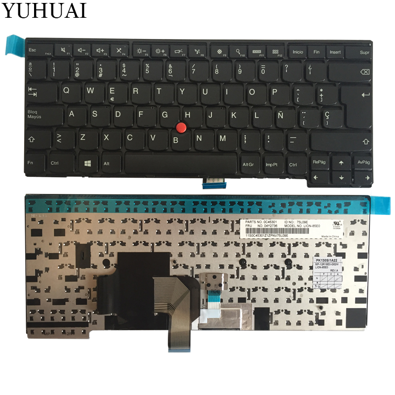 NEW SP laptop keyboard FOR LENOVO THINKPAD T440 T440S T431S T440P T450 T450S T460 Spanish keyboard black 04Y2736 new 14hd laptop lcd screen 30pin original for lenovo thinkpad t440 t440p t440s t431s led display 1600 900 04y1584 n140fge ea2