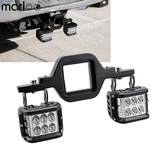 """Marloo 4"""" 36W LED Cube Off-Road Dually Side Shooter Work Lights W/ Tow Hitch Mounting Bracket for Jeep Truck 4x4 Trailer RV SUV"""