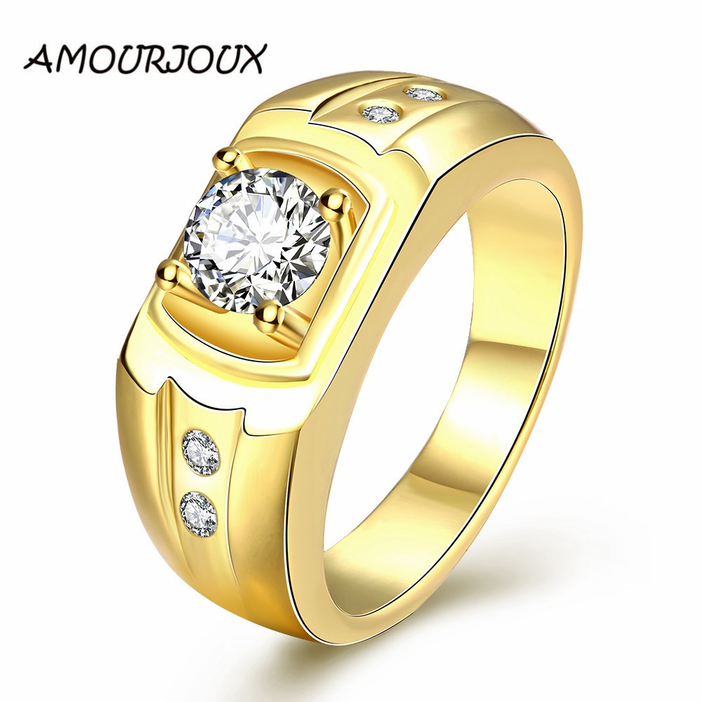 Antiallergic Rose White Gold Color Zircon Rings For Men Wedding Engagement Ring  Man Party Accessories 2016