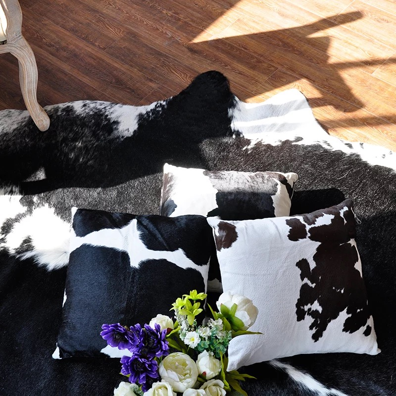 45 x 45 cm Cow leather pillowcase cushion pillowslip Villa living room bedroom leather cushion case Customize