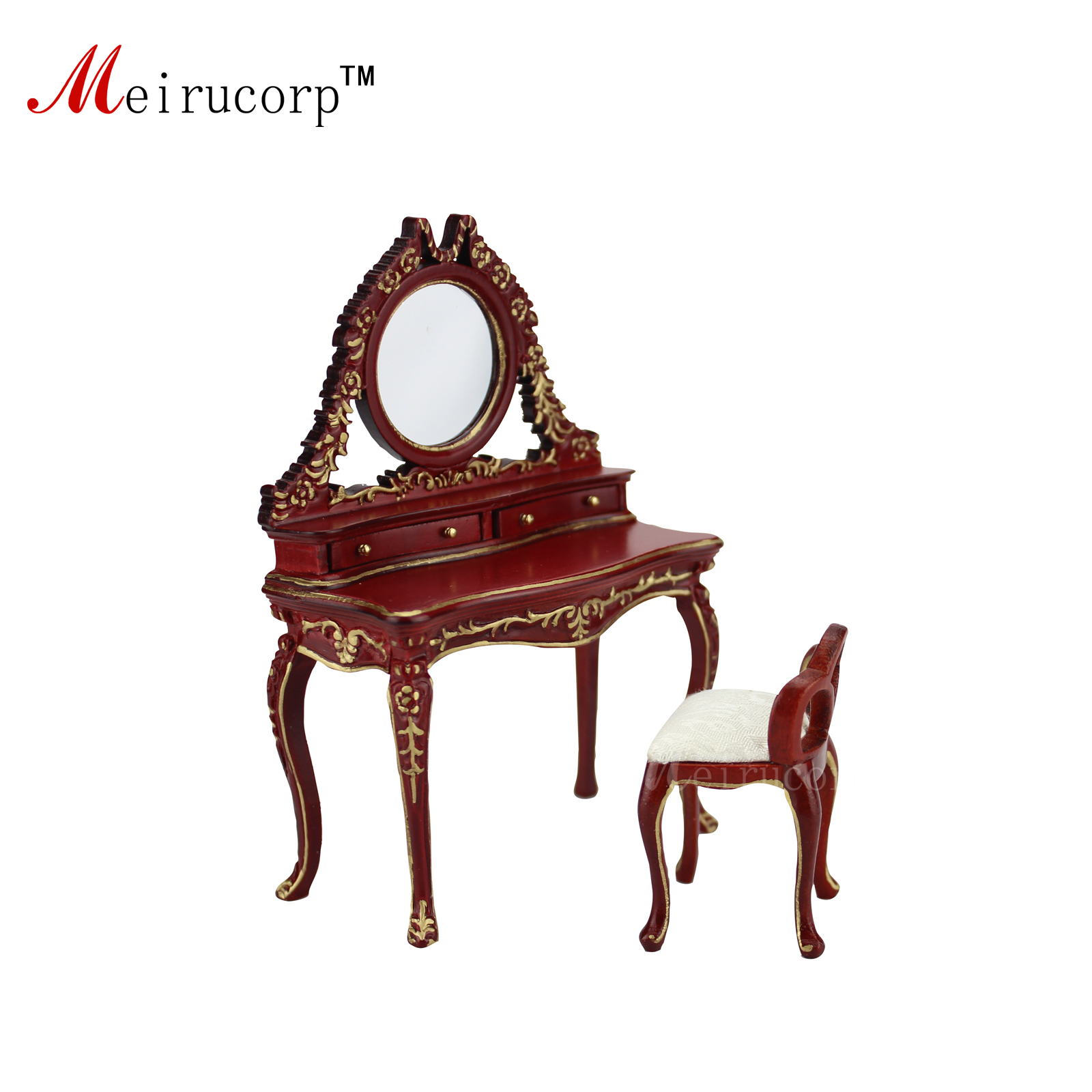 Dollhouse 1:12 scale Miniature furniture Exquisite Bedroom Dressing table and stool doll house 1 12th scale miniature furniture black hand painted harp and stool set