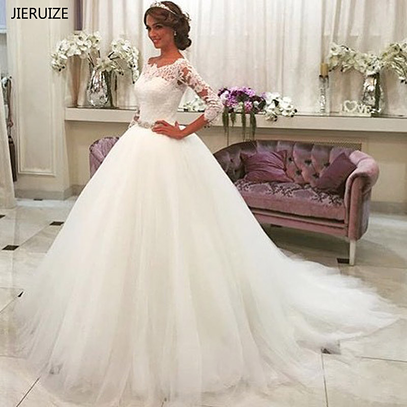 JIERUIZE White Lace Appliques Ball Gown Wedding Dresses 2019 Crystal Sash Button Back Wedding Gowns robe