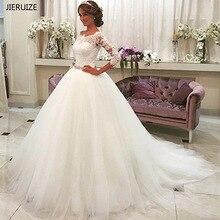 JIERUIZE לבן תחרת אפליקציות כדור שמלת חתונת שמלות 2019 קריסטל אבנט כפתור חזרה חתונת כותנות robe דה mariee trouwjurk