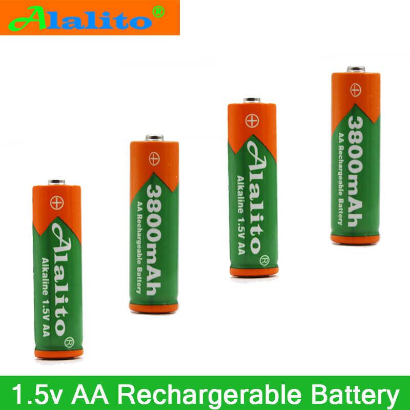 2-20 قطعة 1.5 V AA بطارية قابلة للشحن AA خلية 3800 mah ل الشعلة اللعب ساعة MP3 لاعب استبدال بطاريات شحن مجاني