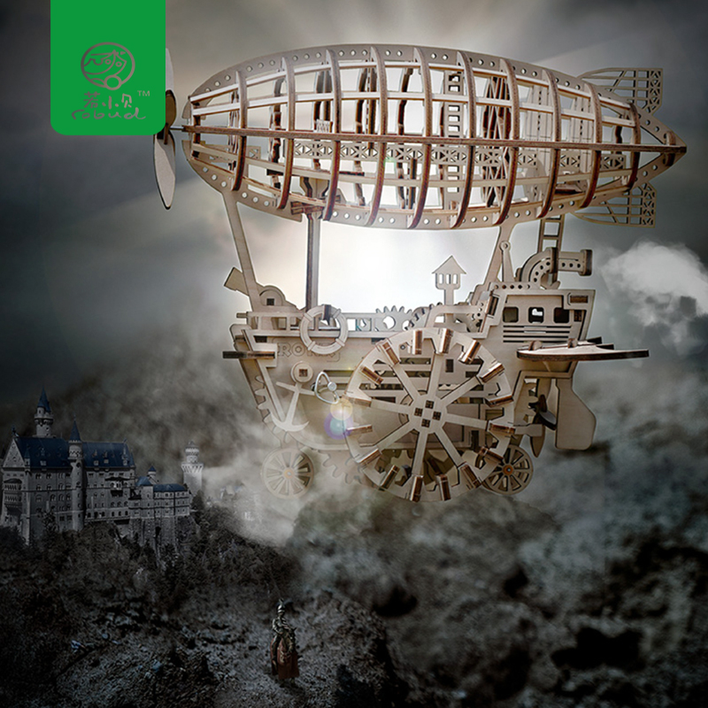 Robud DIY Movable Airship by Clockwork Spring Wooden Model Building Kits Toys Hobbies Gift for Children
