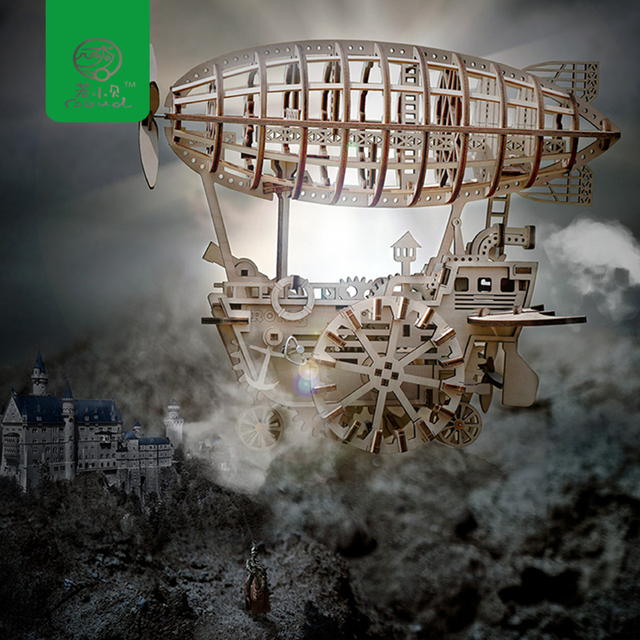 Robud DIY Movable Airship by Clockwork Spring Wooden Model Building Kits Toys Hobbies Gift for Children LK702 for Dropshipping