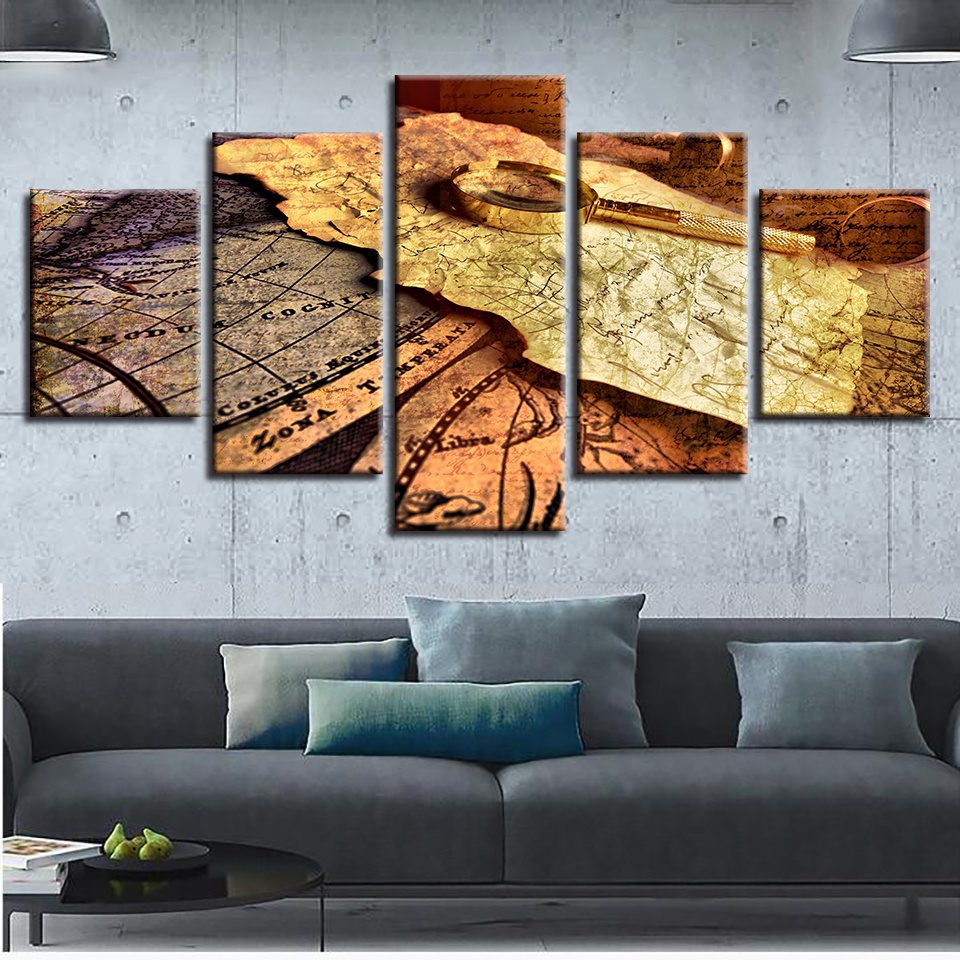 Home decor modern room wall hd printed frame 5 pieces world map and home decor modern room wall hd printed frame 5 pieces world map and magnifying glass pictures modular canvas painting art poster in painting calligraphy gumiabroncs Choice Image