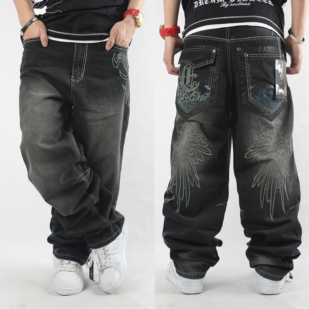 Hip Hop Baggy Jeans Black Mens Denim Loose Pants Rap Lea Orange Label Slim Fit Hitam Thintenda 2018 Fashion Casu