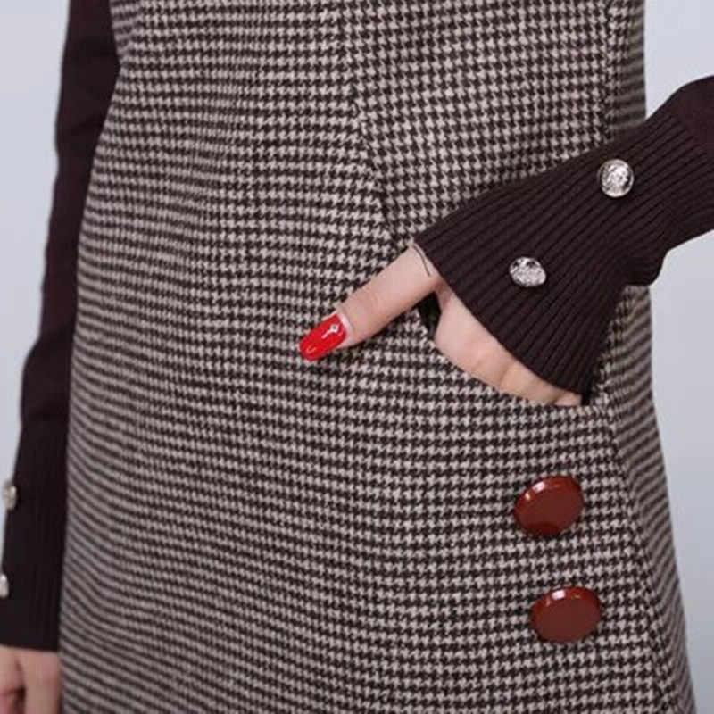 Leiouna Новый женский осенне-зимний сарафан многоцветный хлопковый теплый свободный свитер для скейтера клетчатое платье с открытыми плечами Размер 5xl