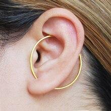 Gold Circle Ear Climber Handmade Triangle Earrings Gold Filled 925 Silver Jewelry Oorbellen Minimalist Earrings For