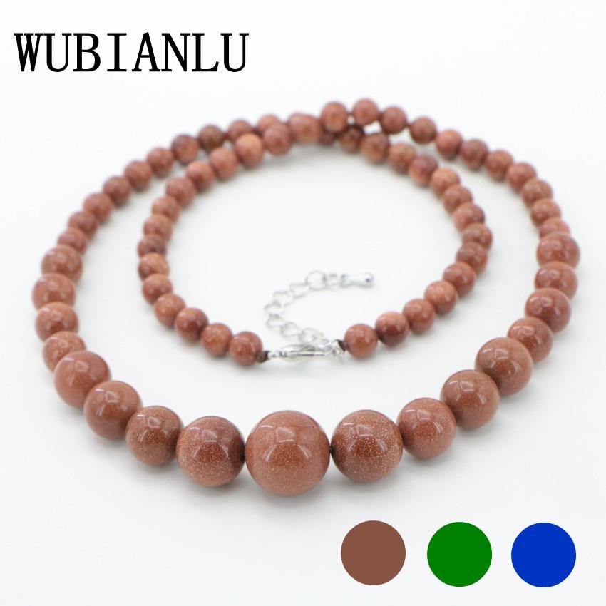 WUBIANLU Beautiful 6-14mm Galaxy Stars Gold Sand Sun Gems Round Beads Neck Choker Necklace Womens Costume Jewelry Girls Gift