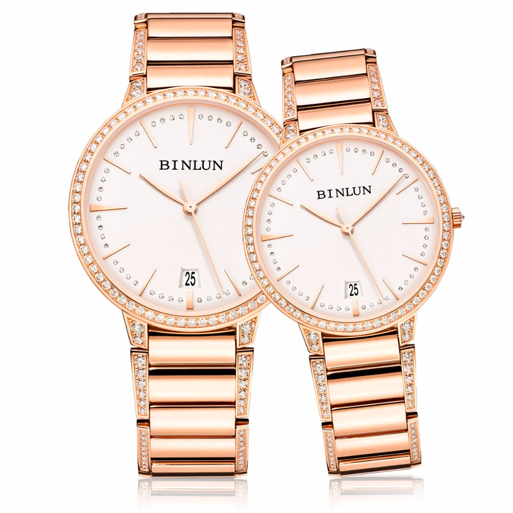 BINLUN Rose Gold His and Hers Couple Watches Ultra Thin Automatic Pair