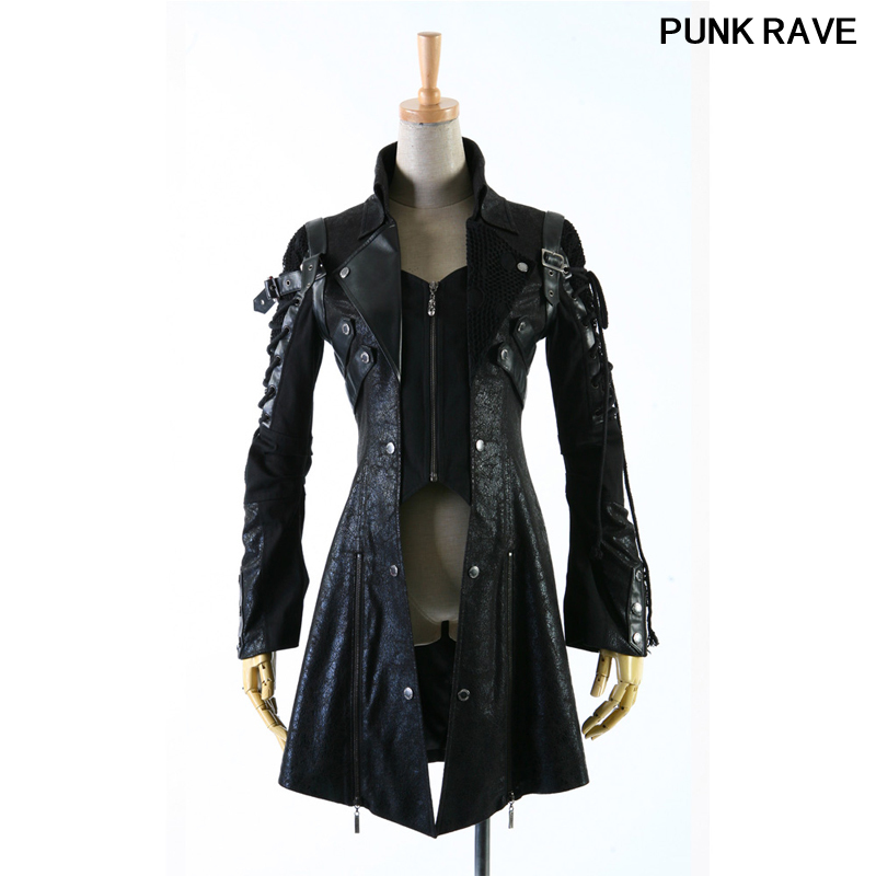 Gothic bandage cool HoodieLot Jacket Streampunk Man made Leather Rock studded Draw string Cotton men Coat S 3XL Punk Rave Y 349
