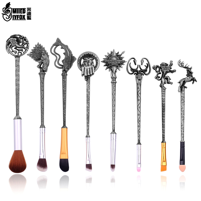 5 Colors Movie Game of Thrones Makeup Brush Set Soft Synthetic Collection Kit with Powder Contour Eyeshadow Eyebrow Lips Brushes